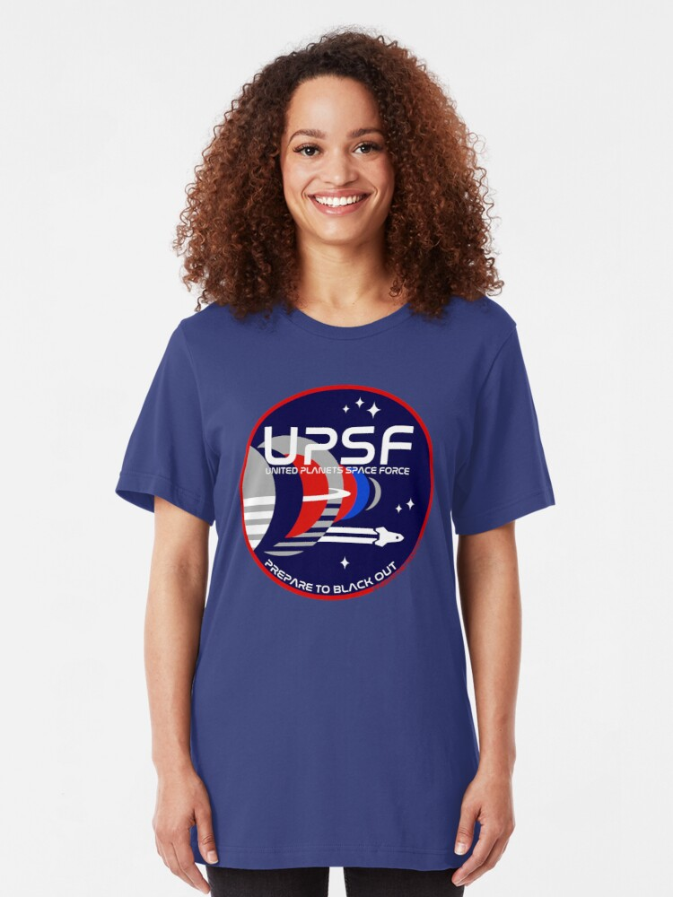 Alternate view of Space Force Logo - Prepare to Black Out Slim Fit T-Shirt