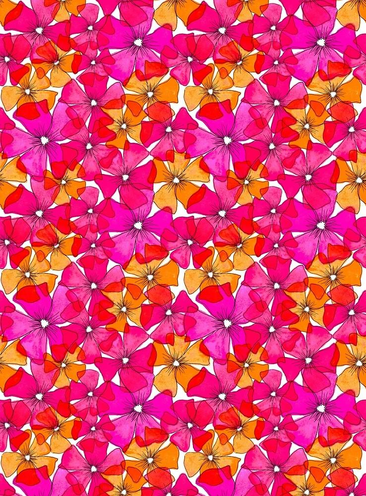 Frühling Blumen gelb pink von RanitasArt