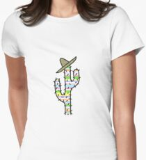 Stripy cactus Womens Fitted T-Shirt