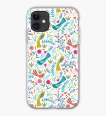 Tropical birds and flowers white iPhone Case