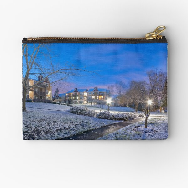 A cold winter day in the hood Zipper Pouch