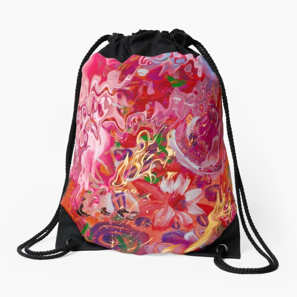 abstract floral suggestions Drawstring Bag