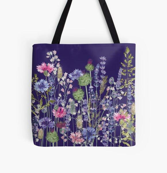 Flower Meadow - Cornflowers, Thistles & Lavender All Over Print Tote Bag