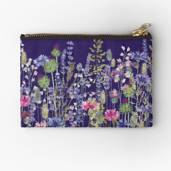 Flower Meadow - Cornflowers, Thistles & Lavender Zipper Pouch