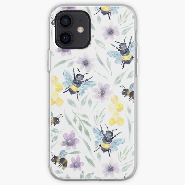 Watercolor Bee Pollinators with florals iPhone Soft Case