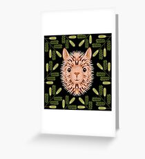 Alpaca blonde portrait. Frame of Mesquite Tree Branches Greeting Card