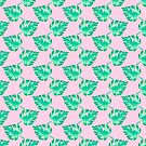 Watercolor Monstera Leaves on Pink by TimorousEclectc
