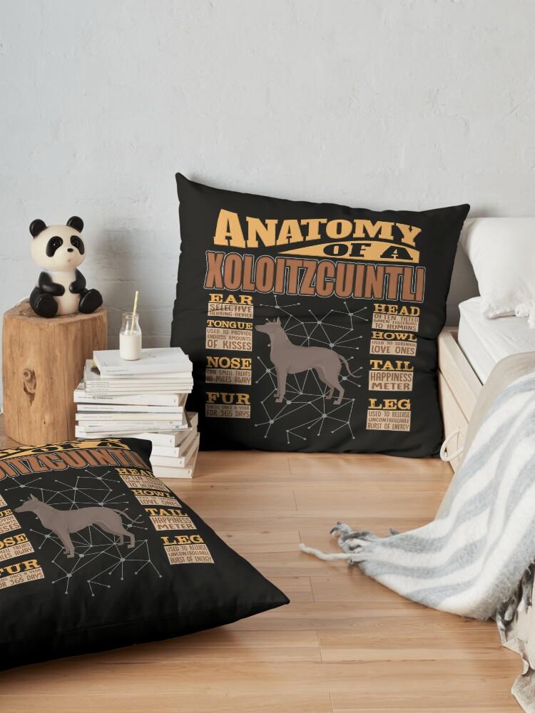 Alternate view of  Anatomy Of A Xoloitzcuintli - Funny Xoloitzcuintli Design Floor Pillow