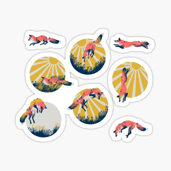 Jumping Foxes Sticker