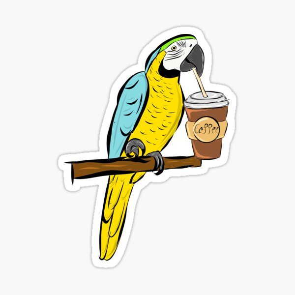 Blue-and-yellow macaw  - parrot - coffee - blue-and-gold macaw Sticker