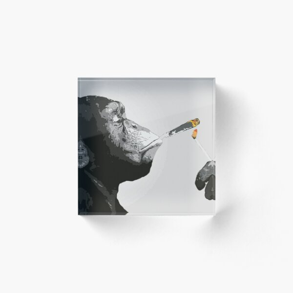 Banksy Steez Chimp Monkey Smoking Joint Acrylic Block