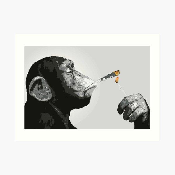 Banksy Steez Chimp Monkey Smoking Joint Art Print