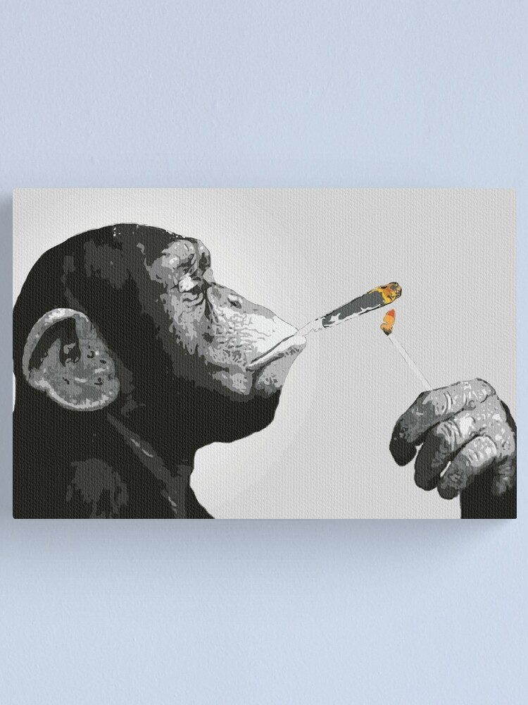 Alternate view of Banksy Steez Chimp Monkey Smoking Joint Canvas Print