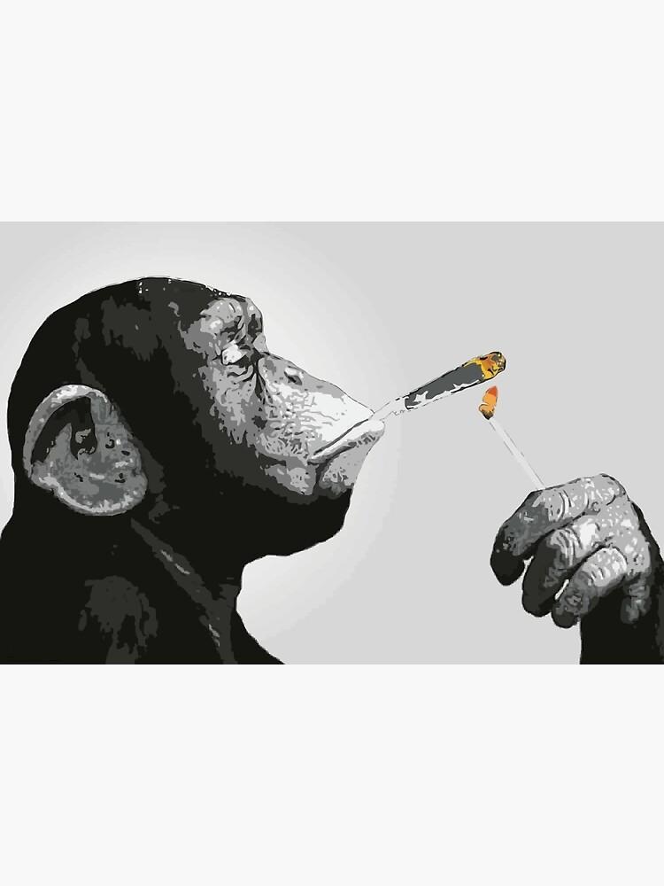 Banksy Steez Chimp Monkey Smoking Joint by bufumofo