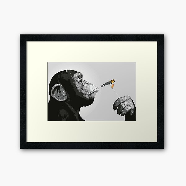 Banksy Steez Chimp Monkey Smoking Joint Framed Art Print
