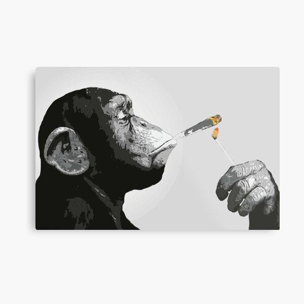 Banksy Steez Chimp Monkey Smoking Joint Metal Print
