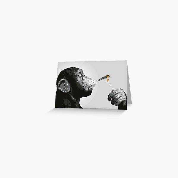 Banksy Steez Chimp Monkey Smoking Joint Greeting Card