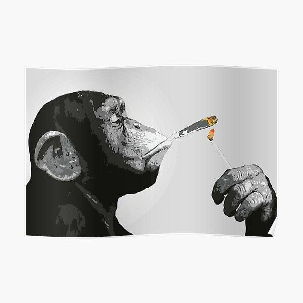 Banksy Steez Chimp Monkey Smoking Joint Poster