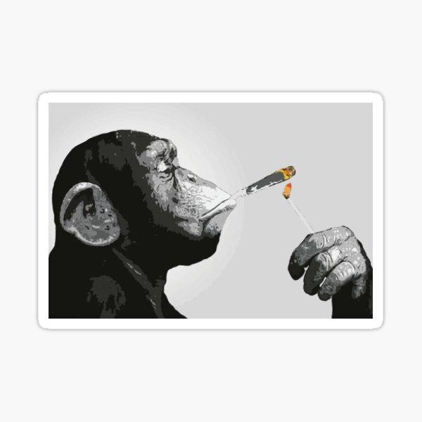 Banksy Steez Chimp Monkey Smoking Joint Sticker