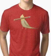 Cockatiel & Pencil Tri-blend T-Shirt