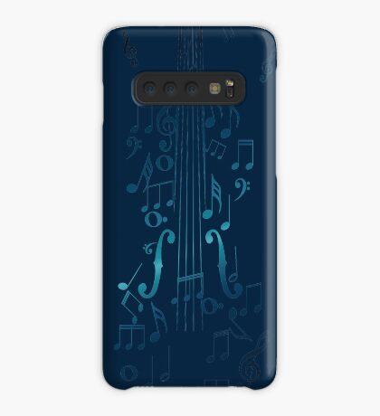 Blaue Violine mit Noten Hülle & Klebefolie für Samsung Galaxy