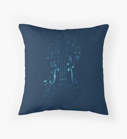 Blaue Violine mit Noten Dekokissen