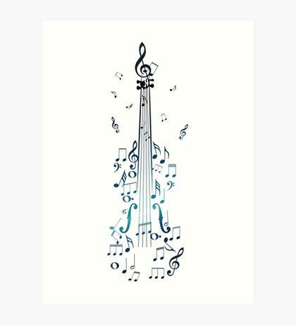 Blaue Violine mit Noten Kunstdruck