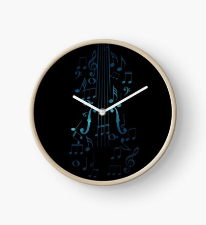 Blaue Violine mit Noten Uhr
