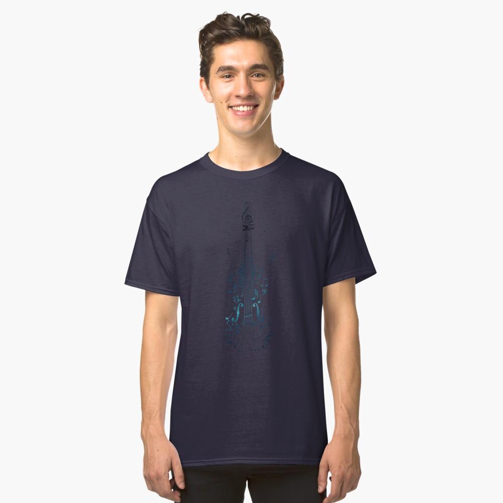 Blaue Violine mit Noten Classic T-Shirt