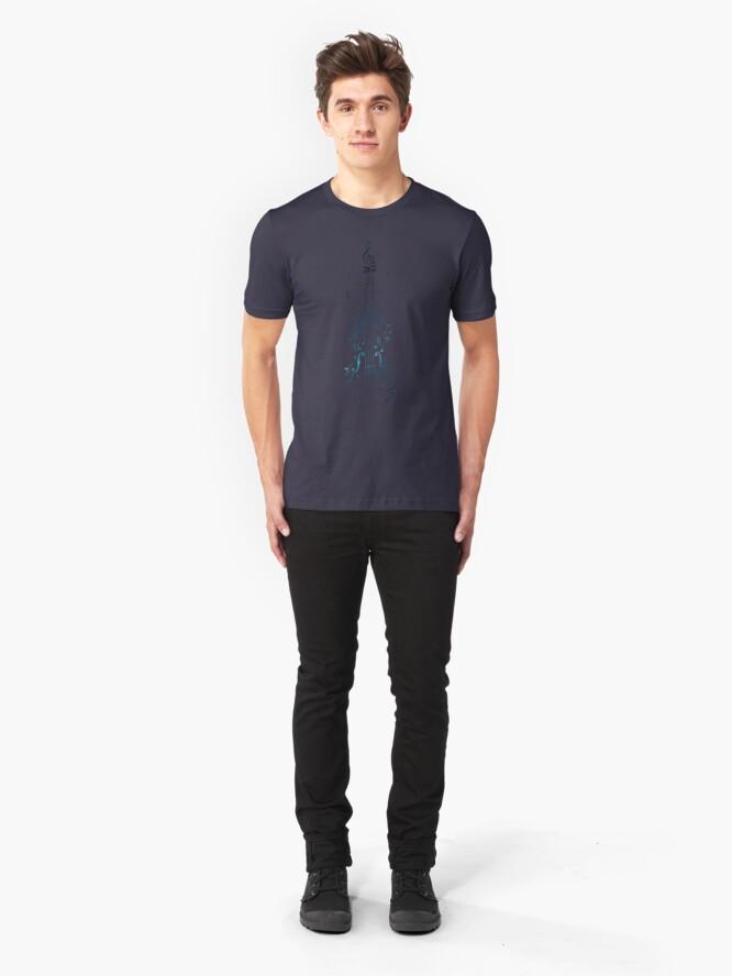 Alternative Ansicht von Blaue Violine mit Noten Slim Fit T-Shirt