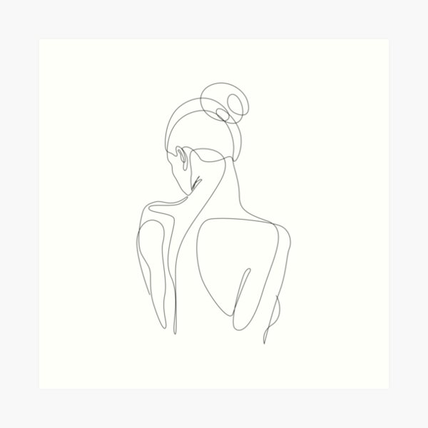 dissol - one line drawing of woman's back Art Print