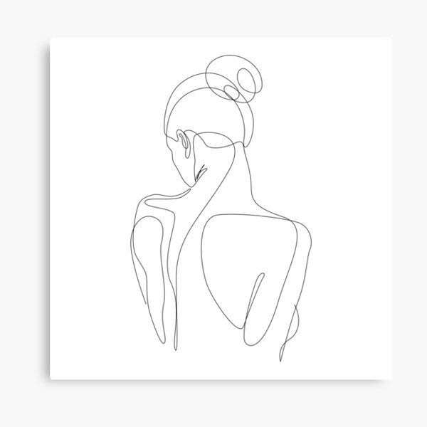 dissol - one line drawing of woman's back Canvas Print