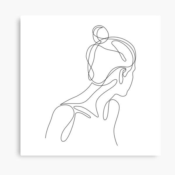 abol - single line female figure drawing Canvas Print