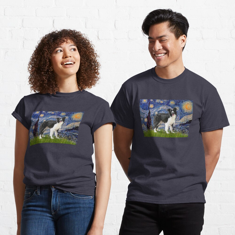 Starry Night - Border Collie (stand) Classic T-Shirt