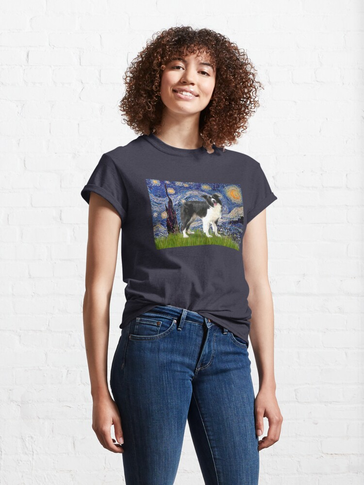 Alternate view of Starry Night - Border Collie (stand) Classic T-Shirt