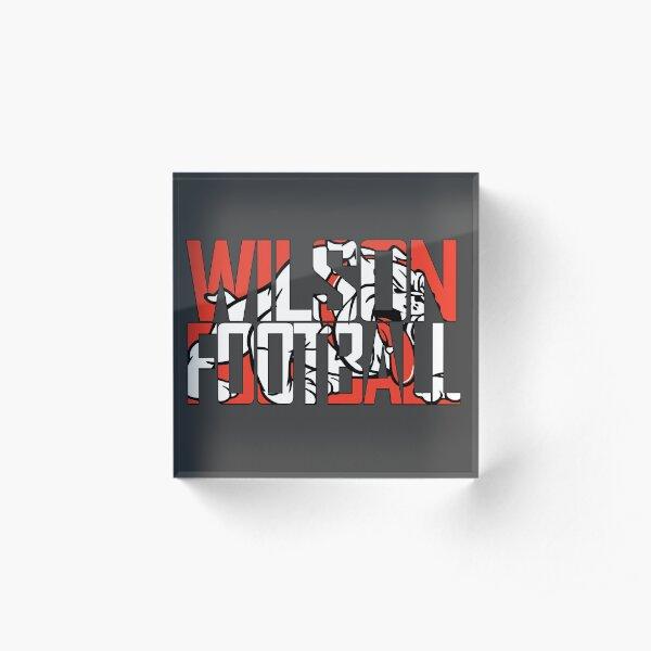 Wilson Football over Bulldog Logo Acrylic Block