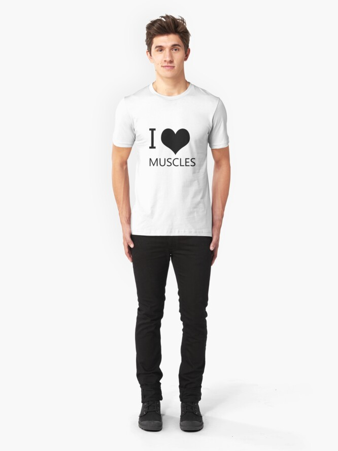 Alternate view of I Heart Muscles, I Love Muscles Slim Fit T-Shirt