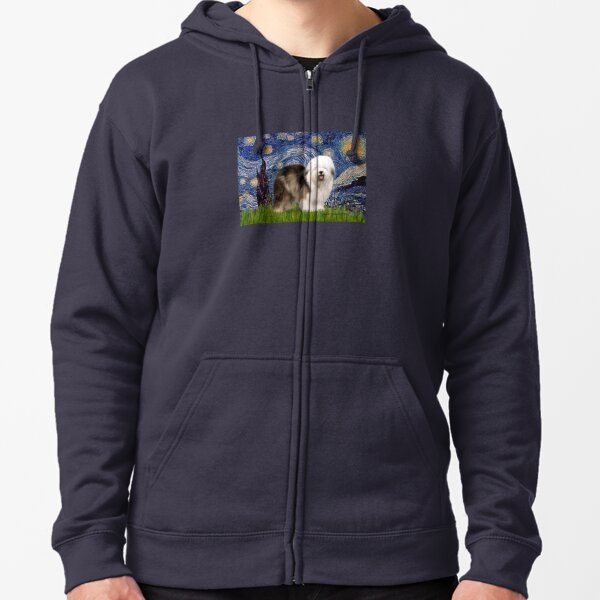 Starry Night - Old English Sheepdog (standing) Zipped Hoodie