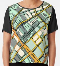 ABSTRACT MAP OF BOSTON SOUTH END Chiffon Top