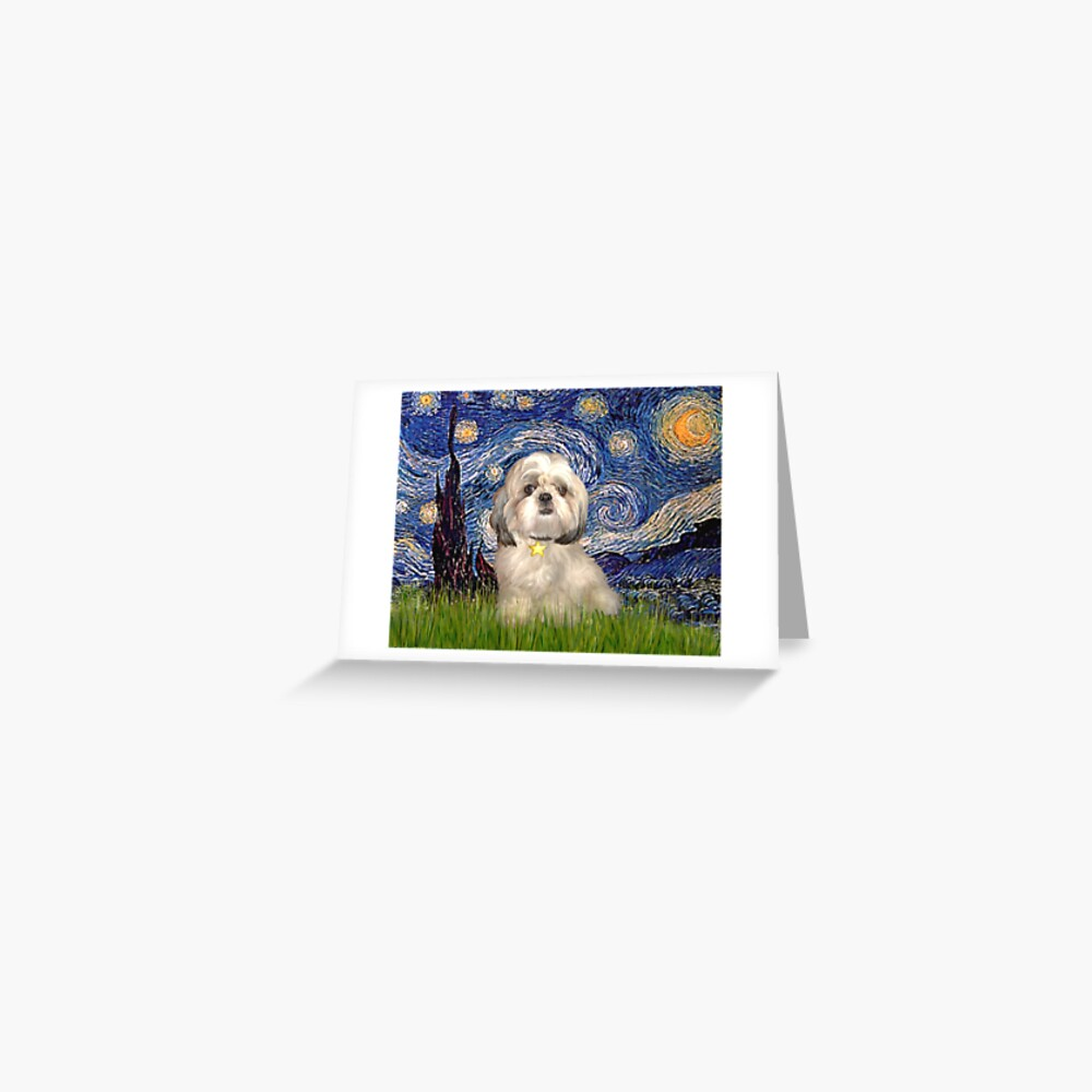 Starry Night - Shih Tzu (Y) Greeting Card