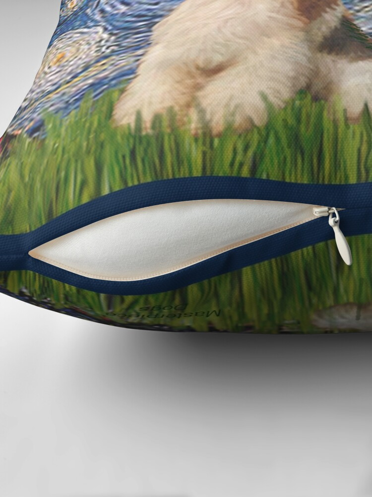 Alternate view of Starry Night - Wire Fox Terrier (#3) Throw Pillow
