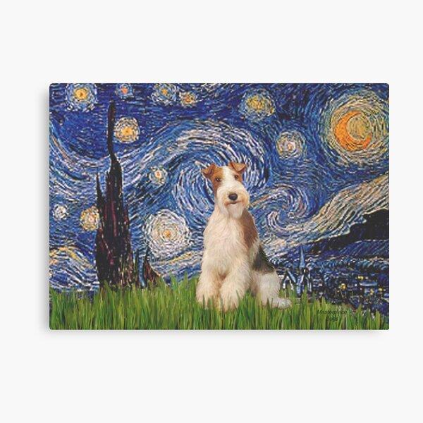 Starry Night - Wire Fox Terrier (#3) Canvas Print