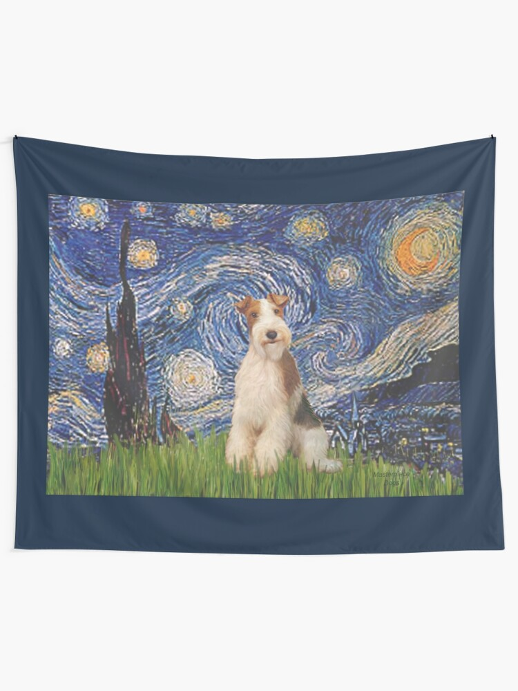 Alternate view of Starry Night - Wire Fox Terrier (#3) Tapestry