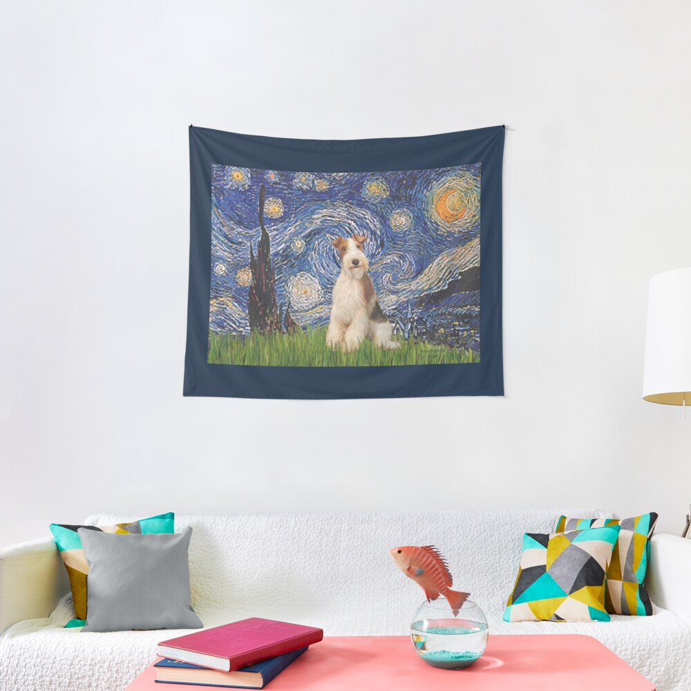 Starry Night - Wire Fox Terrier (#3) Tapestry