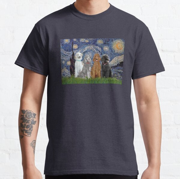 Starry Night - Four Standard Poodles Classic T-Shirt