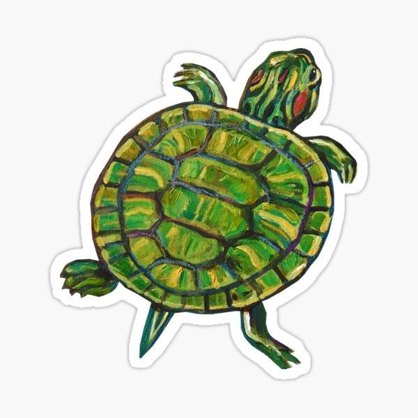 Colorful Green Slider Turtle Sticker by Robert Phelps Sticker