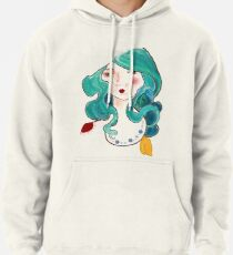 turquoise feathers in her hair Pullover Hoodie