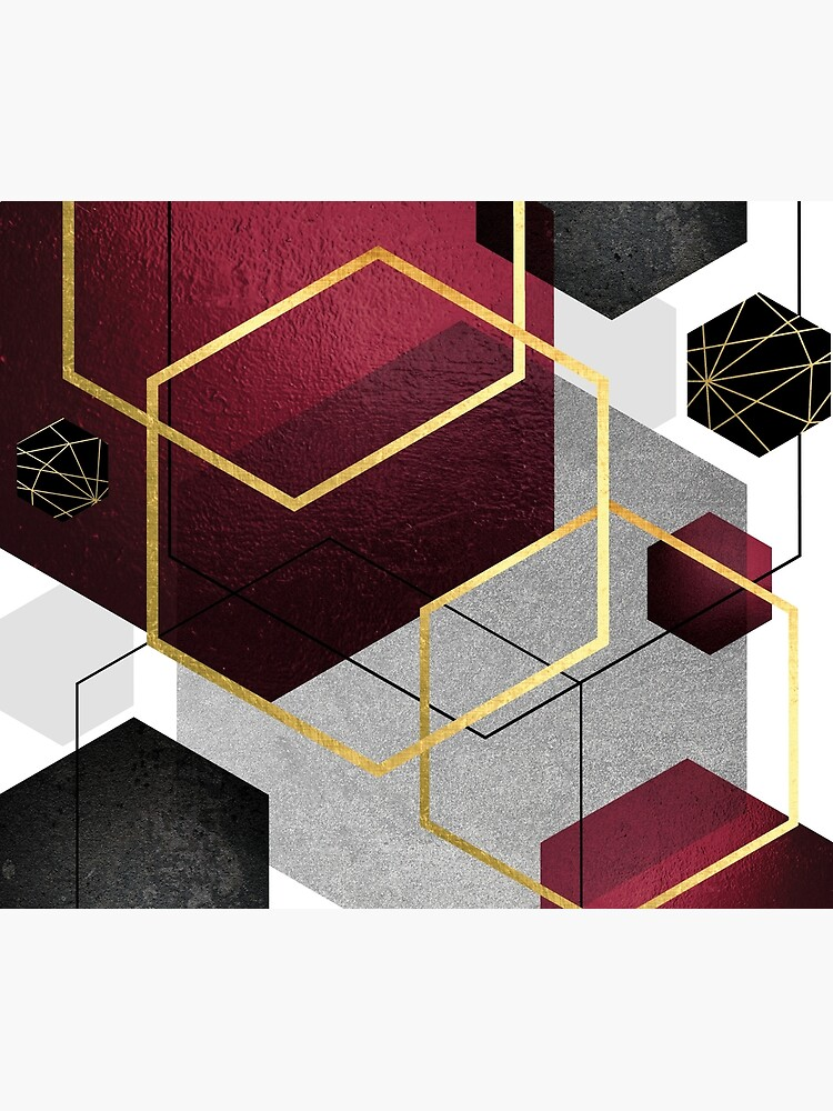 Geometric Hexagons in Red and Black by UrbanEpiphany