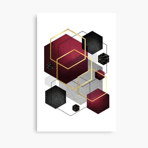 Geometric Hexagons in Red and Black Canvas Print