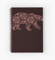 Salmon and Black Geometric Psychedelic Bear Spiral Notebook